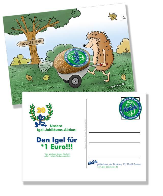 Bäckerei Holste: Illustration für Werbepostkarte